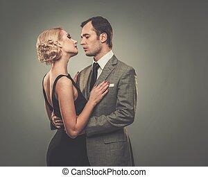 couple, bien-habillé, retro