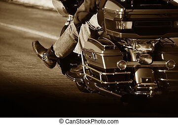 Couple Bikers Sepia Photography. Couples on the Motorbike - Chopper Riding Down the Highway.