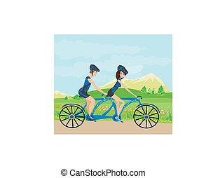 couple biking in the mountains