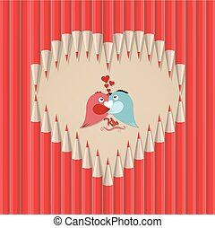 couple bird in heart shape