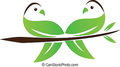 Couple Birds leaf love concept logo