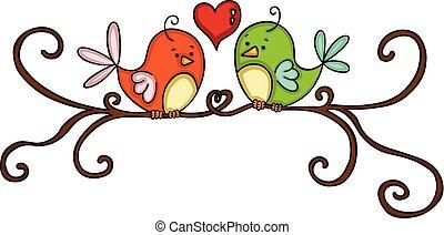 Couple birds on branch
