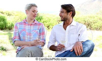couple, blanc, boire, jeune, vin