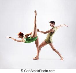 couple, blanc, isolé, Gymnastes