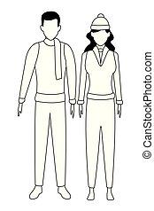 couple, blanc, noir, jeune, avatars
