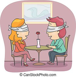 Couple Blind Date - Illustration of a Man and Woman Set Up...