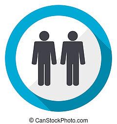 Couple blue flat design web icon
