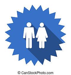 couple blue flat icon