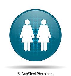 couple blue glossy web icon