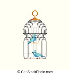 Couple blue jay characters in big hanging cell. Cute birds...
