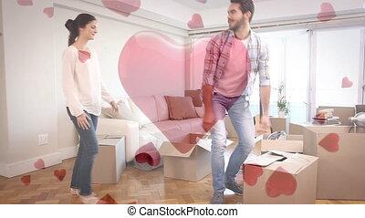 couple, boîtes, porter, carton