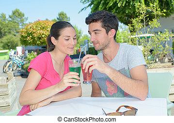 couple, boisson, avoir