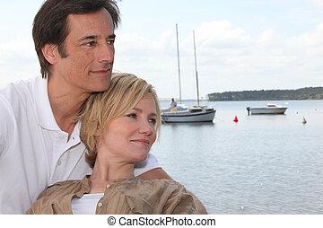 couple, bord mer