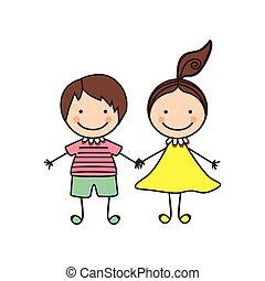 couple boy and girl cartoons icon
