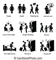 A set of human pictograms representing the scenario and issue of boyfriend and girlfriend.