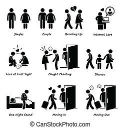 Couple Boyfriend Girlfriend - A set of human pictograms ...