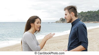 Couple breaking up after argument - Angry couple breaking up...