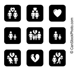 couple breakup, divorce black icons set