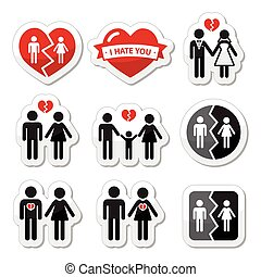Couple breakup, divorce icons - Icons set isolated on white...