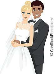 Couple Bride Groom Interracial Wedding