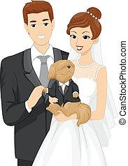 Couple Bride Groom Pet Dog