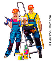 Couple builder  with construction tools.