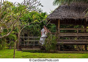 couple, bungalow, romantique