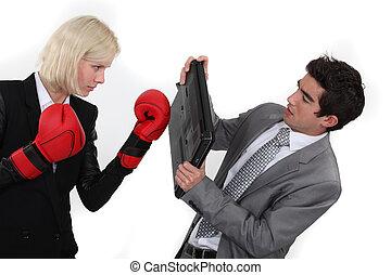 couple, business, combat