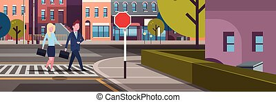 couple business man woman going crosswalk city street buildings downtown road cityscape background horizontal banner flat