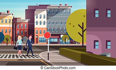 couple business man woman going crosswalk city street buildings downtown road cityscape background horizontal flat