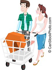 Couple Buying a House, illustration