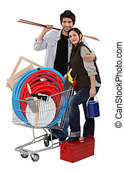 Couple buying DIY materials