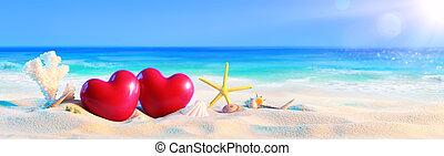 couple, cœurs, plage tropicale