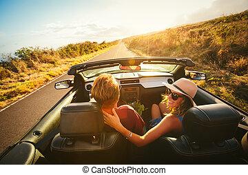 couple, cabriolet, conduite, heureux
