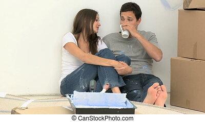 couple, café buvant, heureux