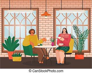 couple, café, café, manger, table, dehors, boissons