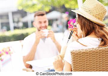 couple, café, jeune