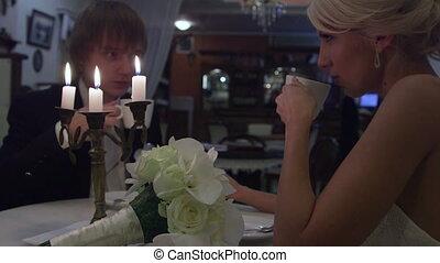 couple, café, mariage