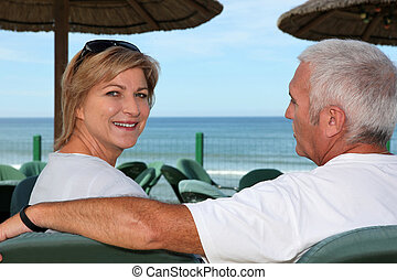 couple, café, plage