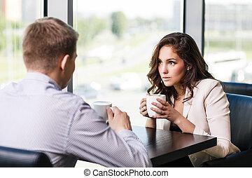 couple, café, séance