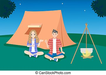 couple camping at night