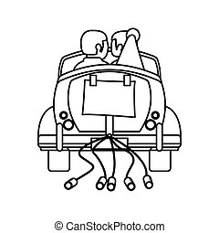 couple car just married outline