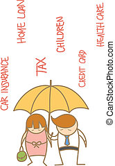 couple, caractère, sous, tomber, dépense, dessin animé