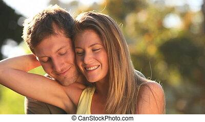 couple, caresser, séduisant