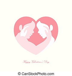 Couple caressing in heart shaped silhouette