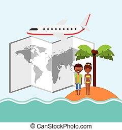 couple cartoon island palm tree map airplane icon. Vector graphi