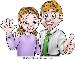 Couple Cartoon Man and Woman