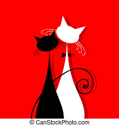 Couple cats together, silhouette for your design