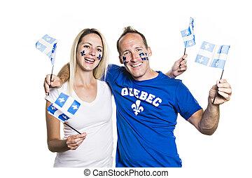 Couple celebrates the national holiday in studio white...