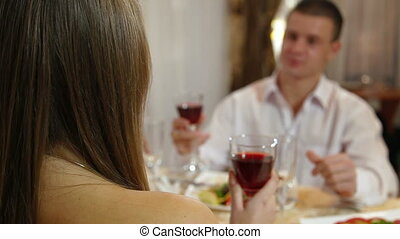 couple celebrating at restaurant